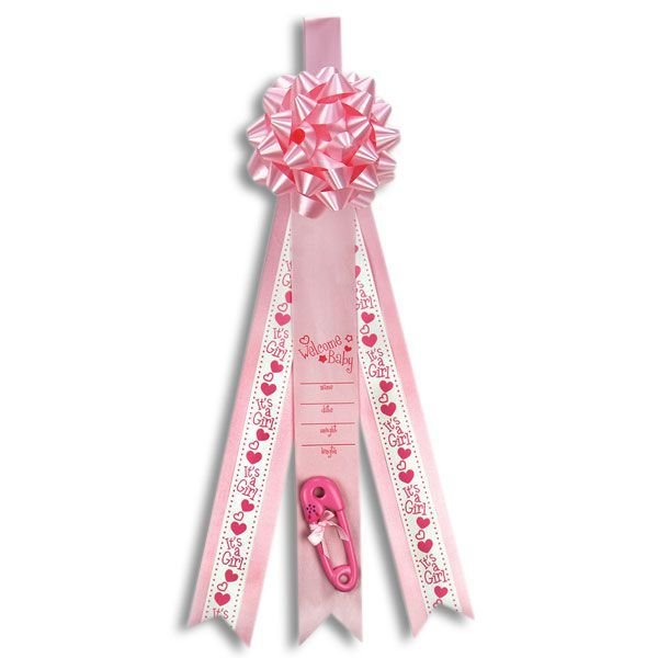 Baby announcement ribbon in pink