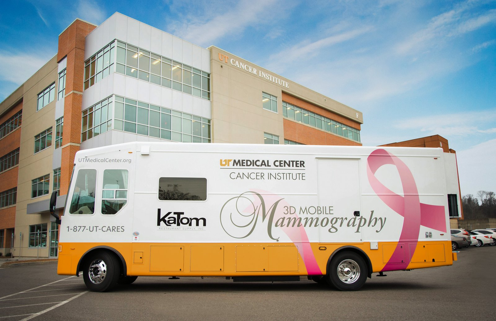 Mobile Mammography Unit parked in front of the Cancer Institute at UT Medical Center in Knoxville, Tennessee