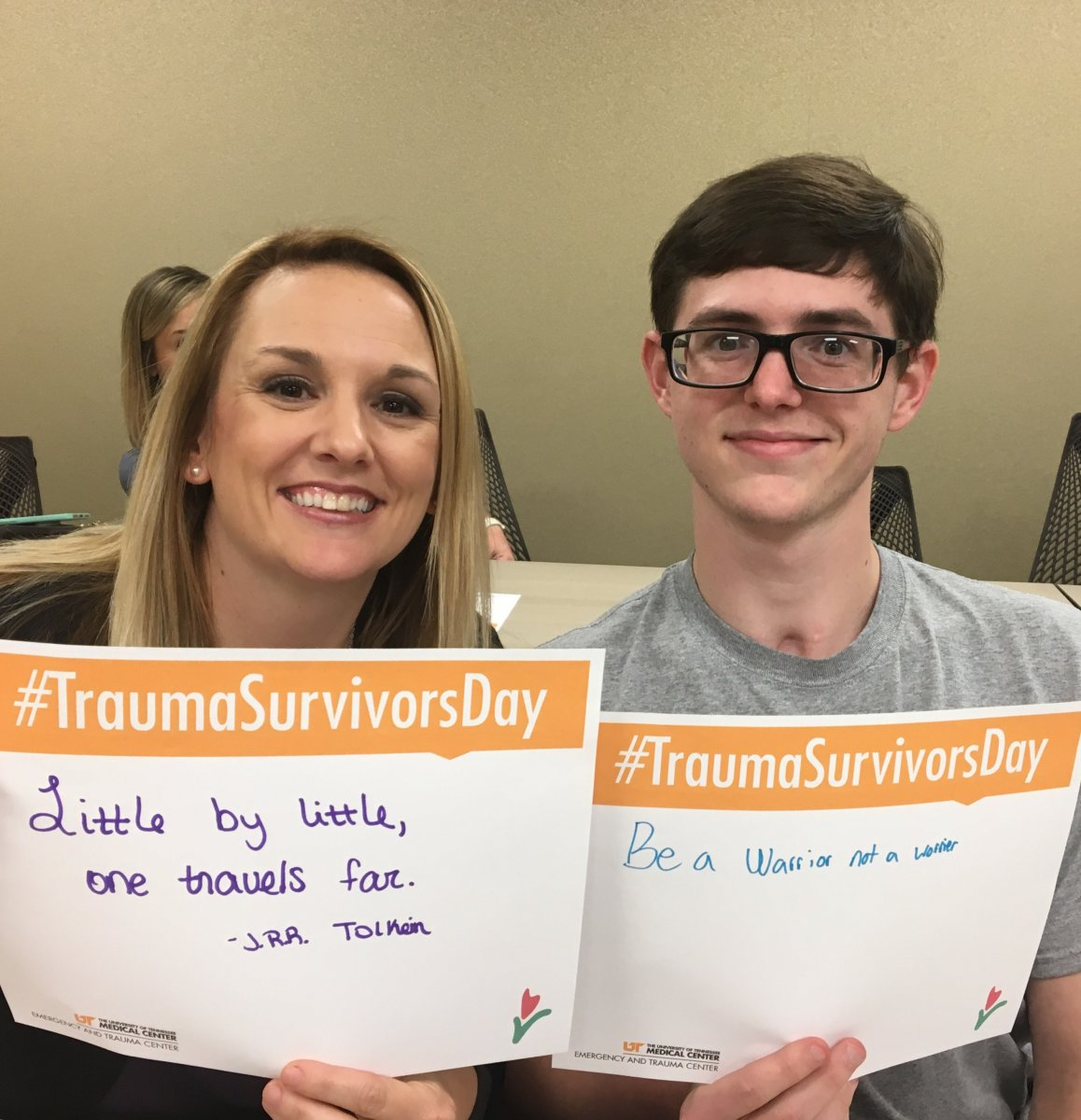 Austin McGhee and his mom, Jennifer Roach, at a Trauma Survivors Network event in Knoxville, Tennessee
