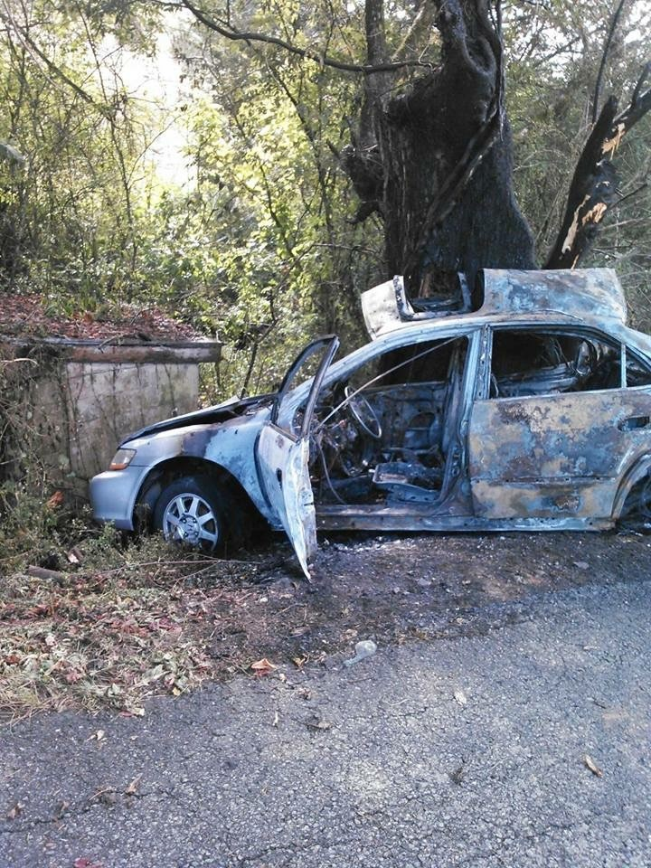 Austin McGhee's car burned in the crash that caused his traumatic brain injury