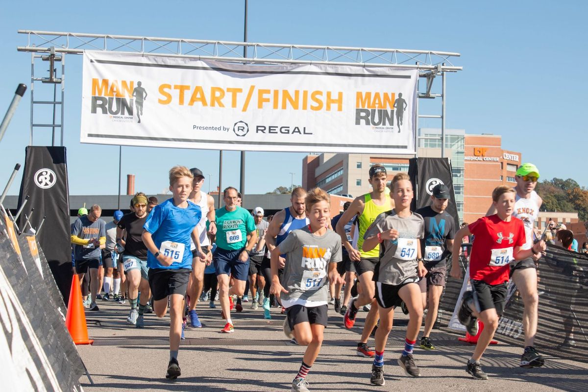 Runners leave the starting line at Man Run